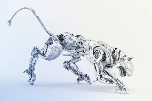 Silver panther robot