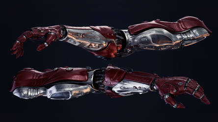 Two futuristic robotic arms