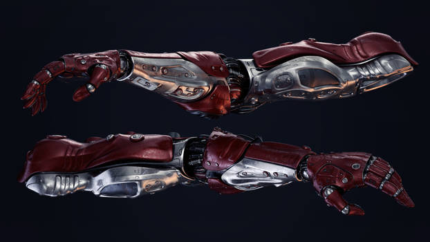 Two futuristic robotic arms