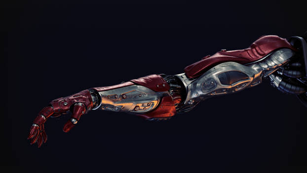 Red silver robotic arm