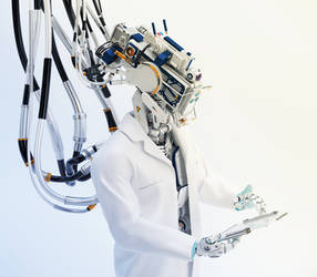 Futuristic connected robotic doctor with tablet