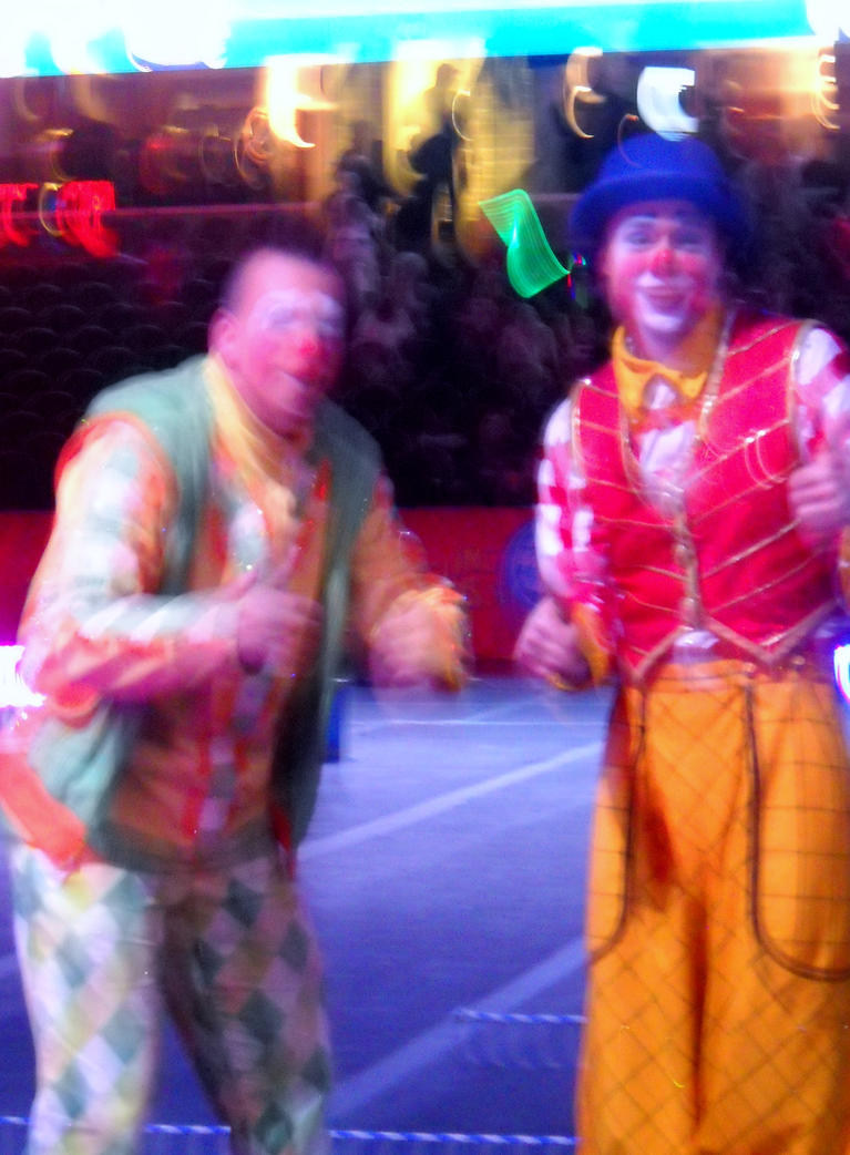 Two Clowns Posing for A Picture by TheWizardofOzzy
