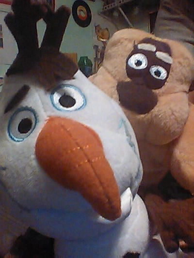 Olaf and Master Monkey Doing A Selfie by TheWizardofOzzy