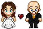 Custom Bride and Groom Digital Pixel Art by emmadreamstar