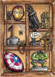 MCU Marvel Wood CabinetATC by emmadreamstar