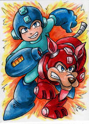 Mega Man and Rush by emmadreamstar