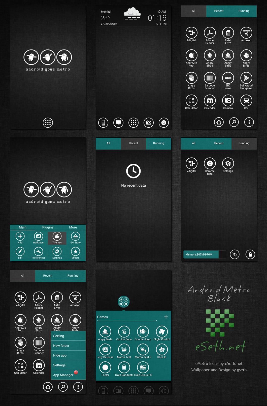 Metro Black Theme Android Go Launcher Ex