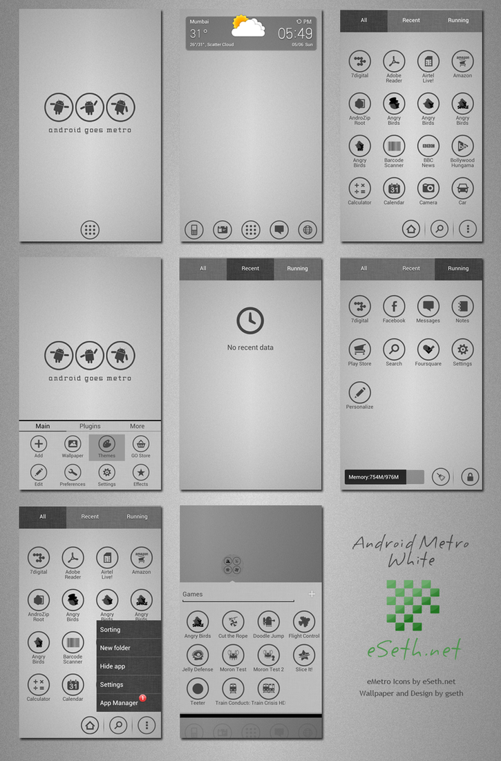 Metro White Theme Android Go Launcher Ex by gseth on ...
