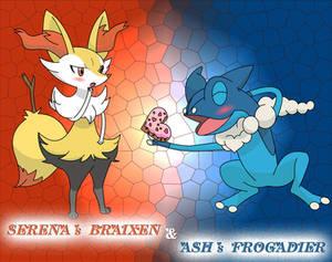 Pokemon XY Serena's Braixen and Ash's Frogadier