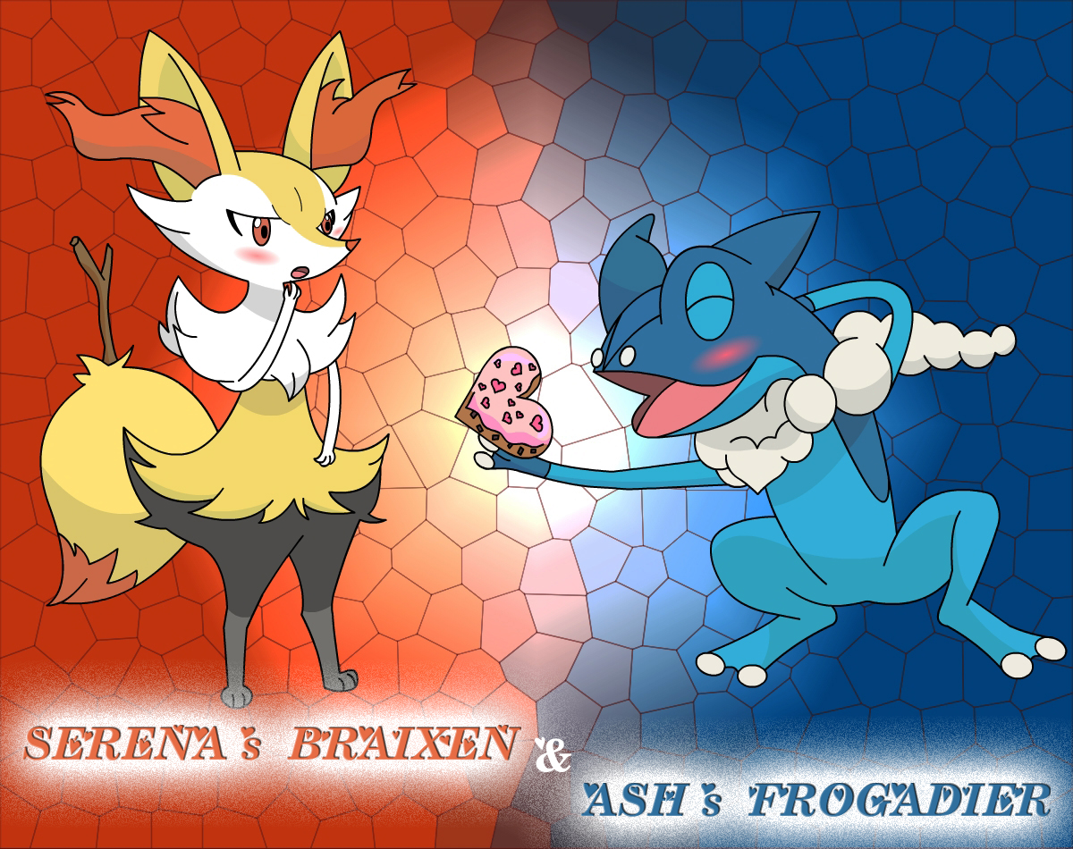pokemon xy serena u0027s braixen and ash u0027s frogadier by phoenyxuzprimax
