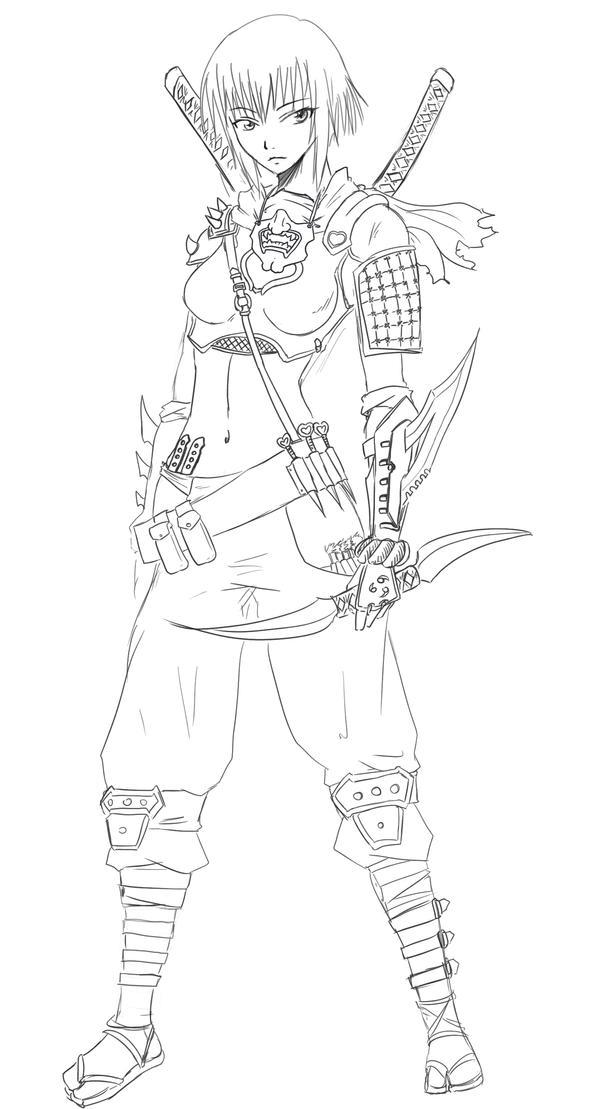 Line Art Ninja : Chloe ninja lineart by agito on deviantart