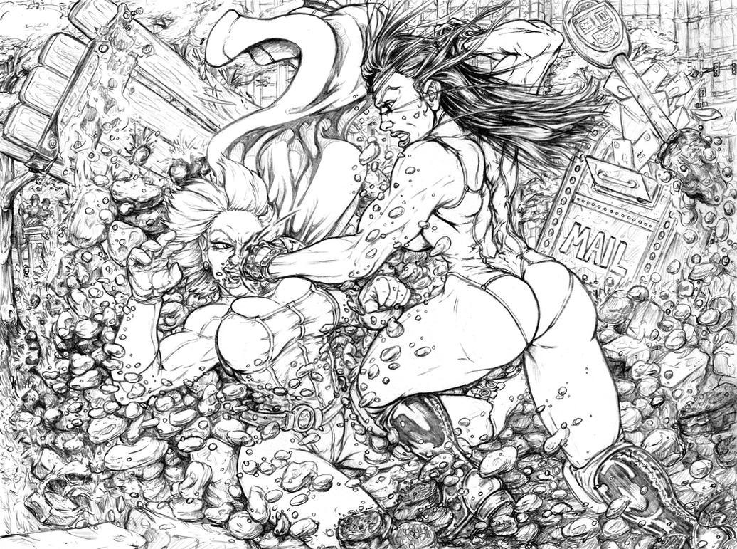 Powergirl vs She Hulk 02 by andrewr255