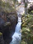 Mountain river and bridge stock