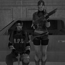 Leon and Claire in Raccoon City