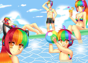 Rainbow's Pool Party by 100procent-Juul