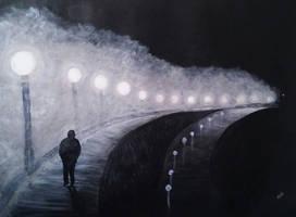 foggy walk by rainbow-falls
