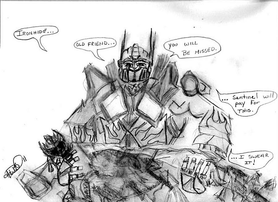Optimus over ironhide by byrdman 08 on deviantart for Ironhide coloring pages