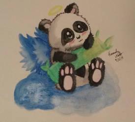 adorable panda on a cloud