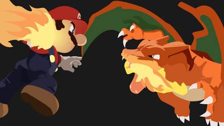Mario and Charizard Smash Brothers wallpaper