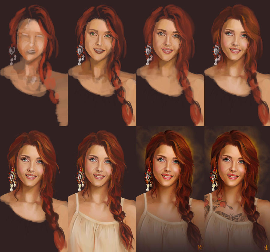 Tattooed red girl process by EnyaMahuta