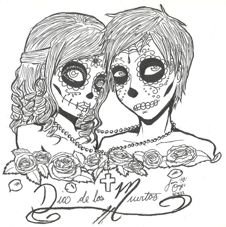Dia de los muertos by guardian angel15 on deviantart for Dia de los muertos skull coloring page
