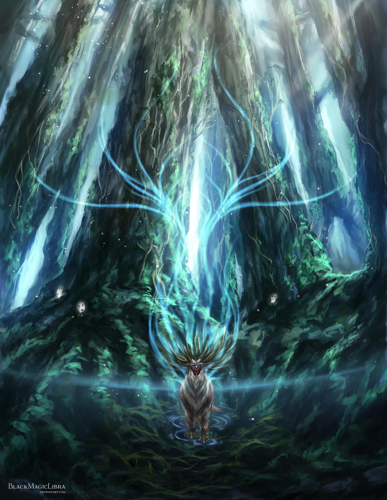 princess mononoke forest spirit art