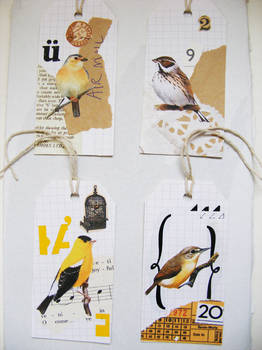 yellow bird collage tags 1