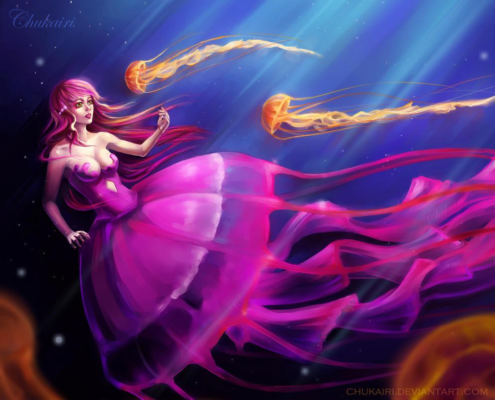 Pink Jellyfish Girl by Chukairi