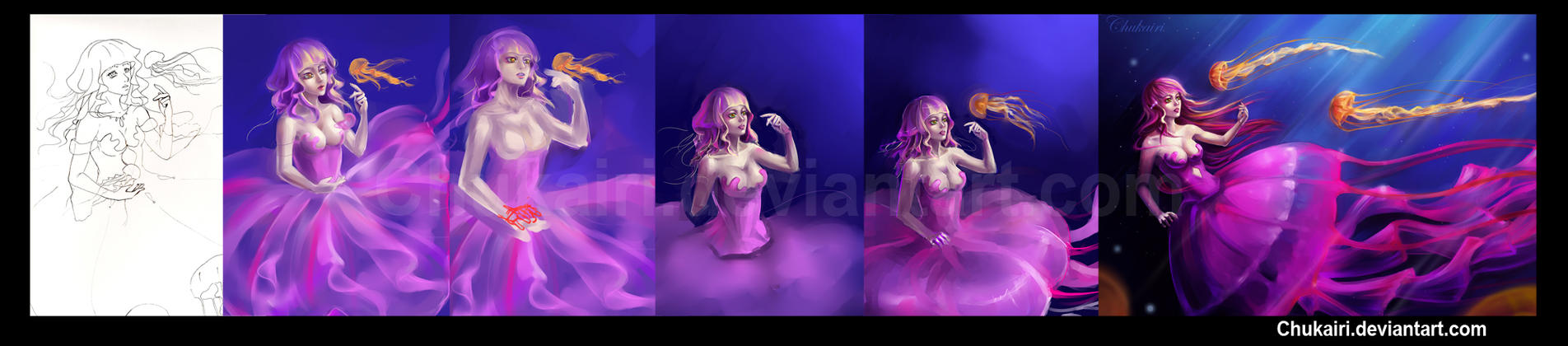 Progress of Jellyfish Girls by Chukairi