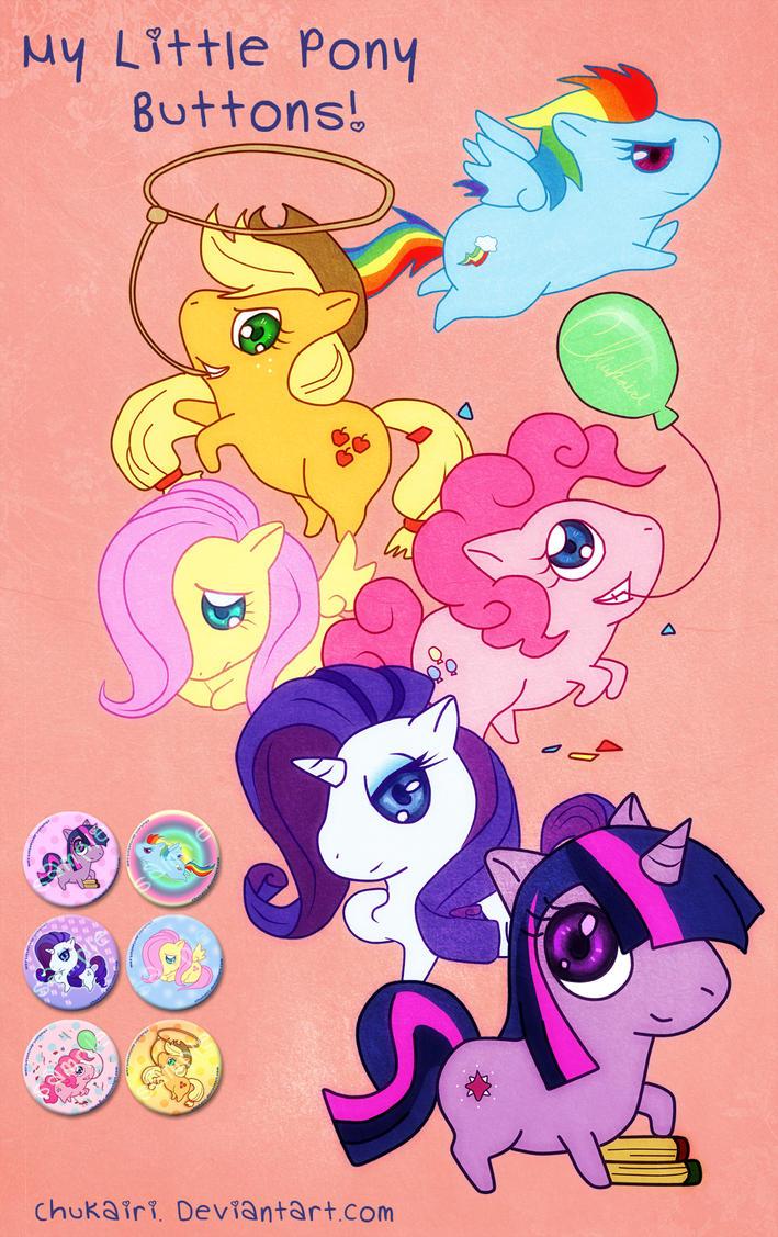 My Little Pony Buttons by Chukairi