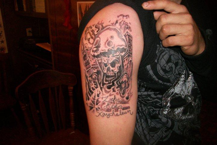 Mushroom skull tattoo by Pete-Death