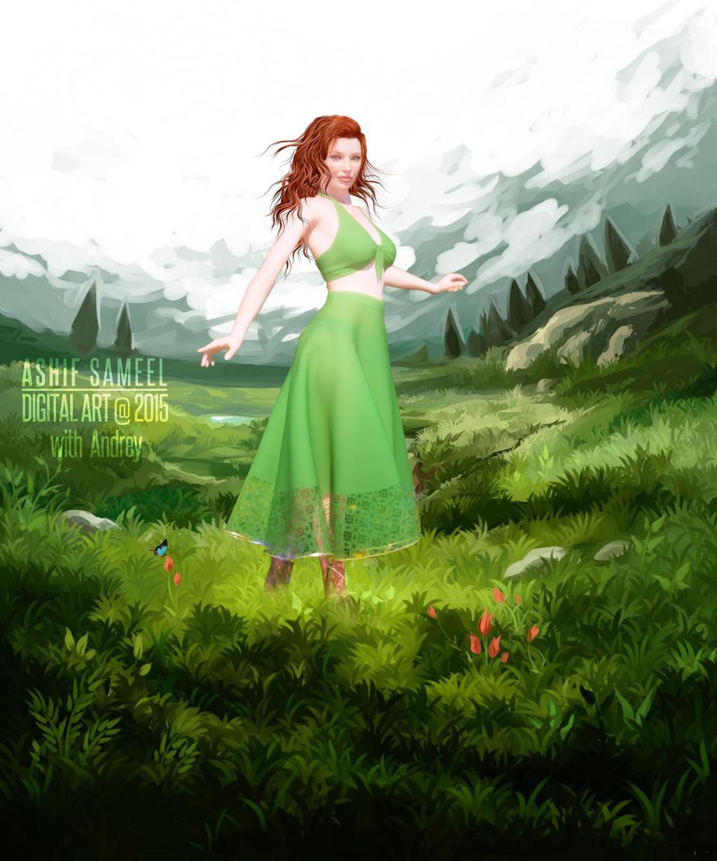 Walking on green meadow II by sameelmk