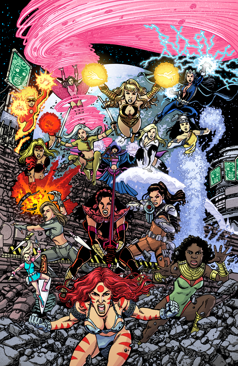 George Perez' SIRENS #3 Cover colors