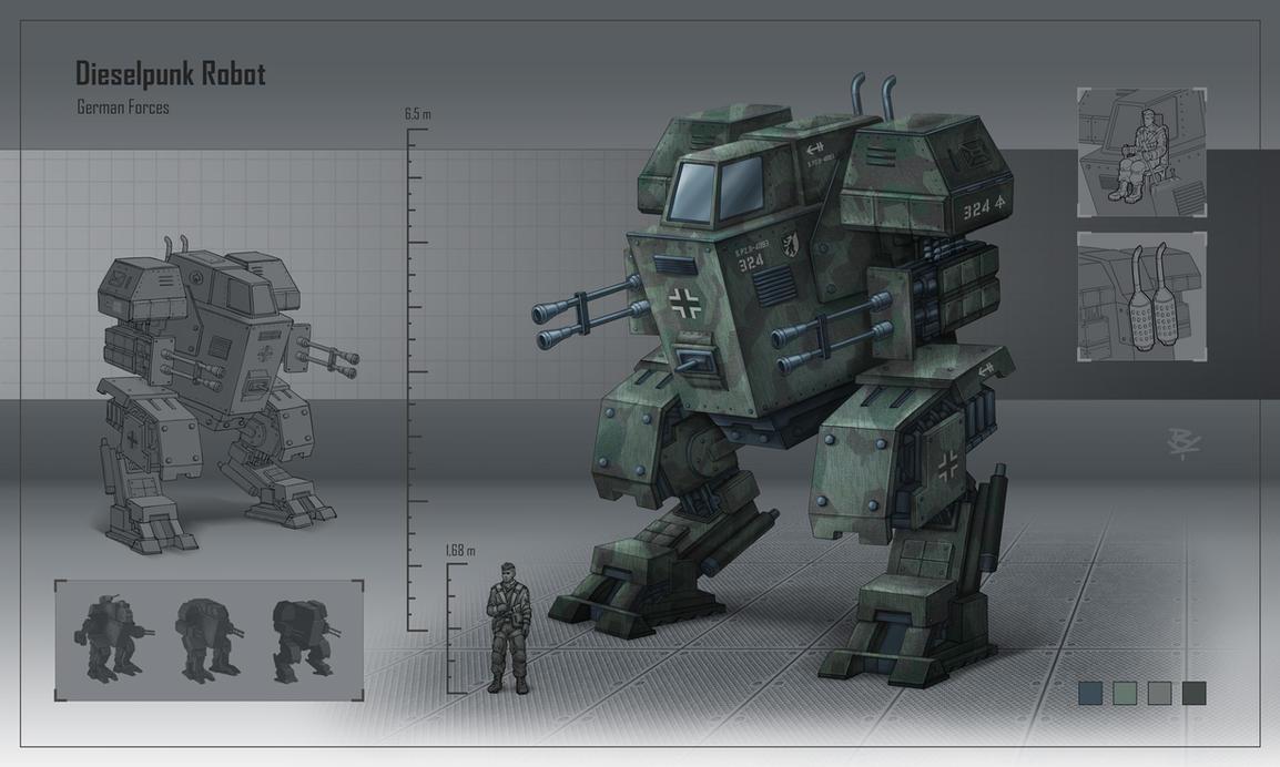 Dieselpunk robot by RadoArts
