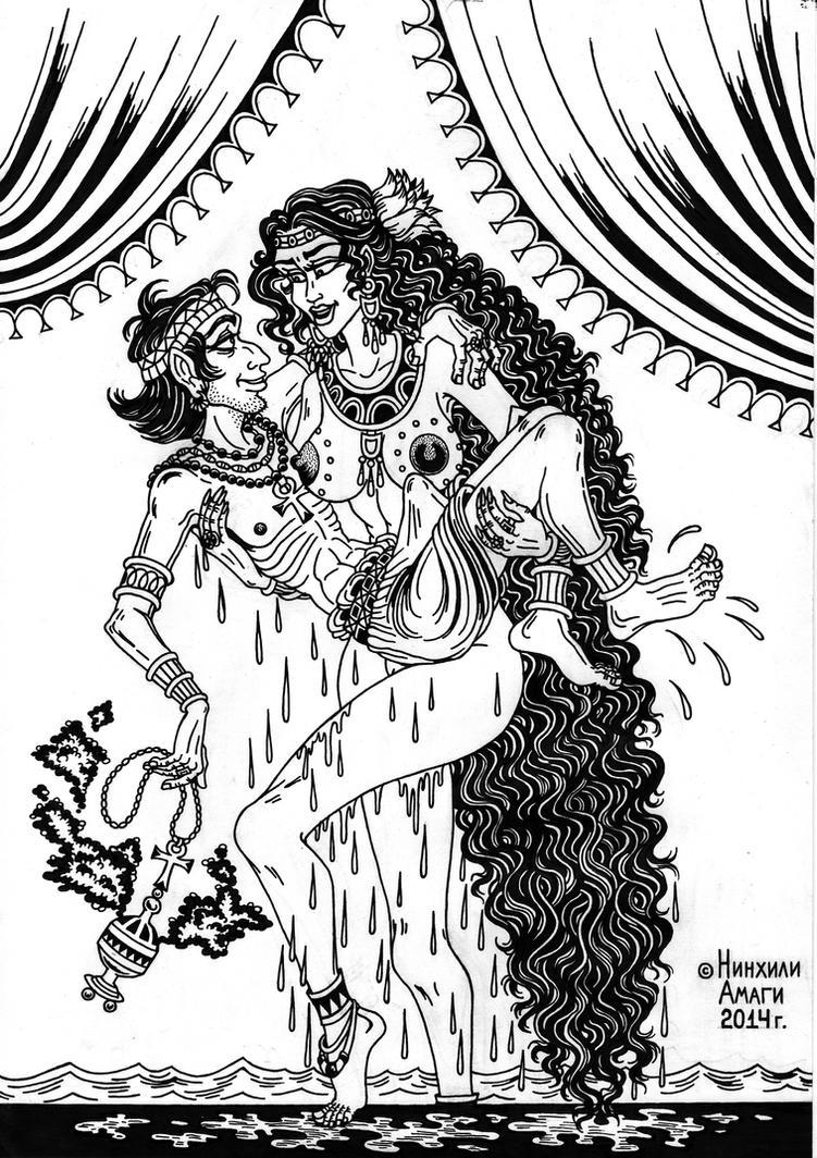 Hormahis and goddess Hathor in the pool by talfar