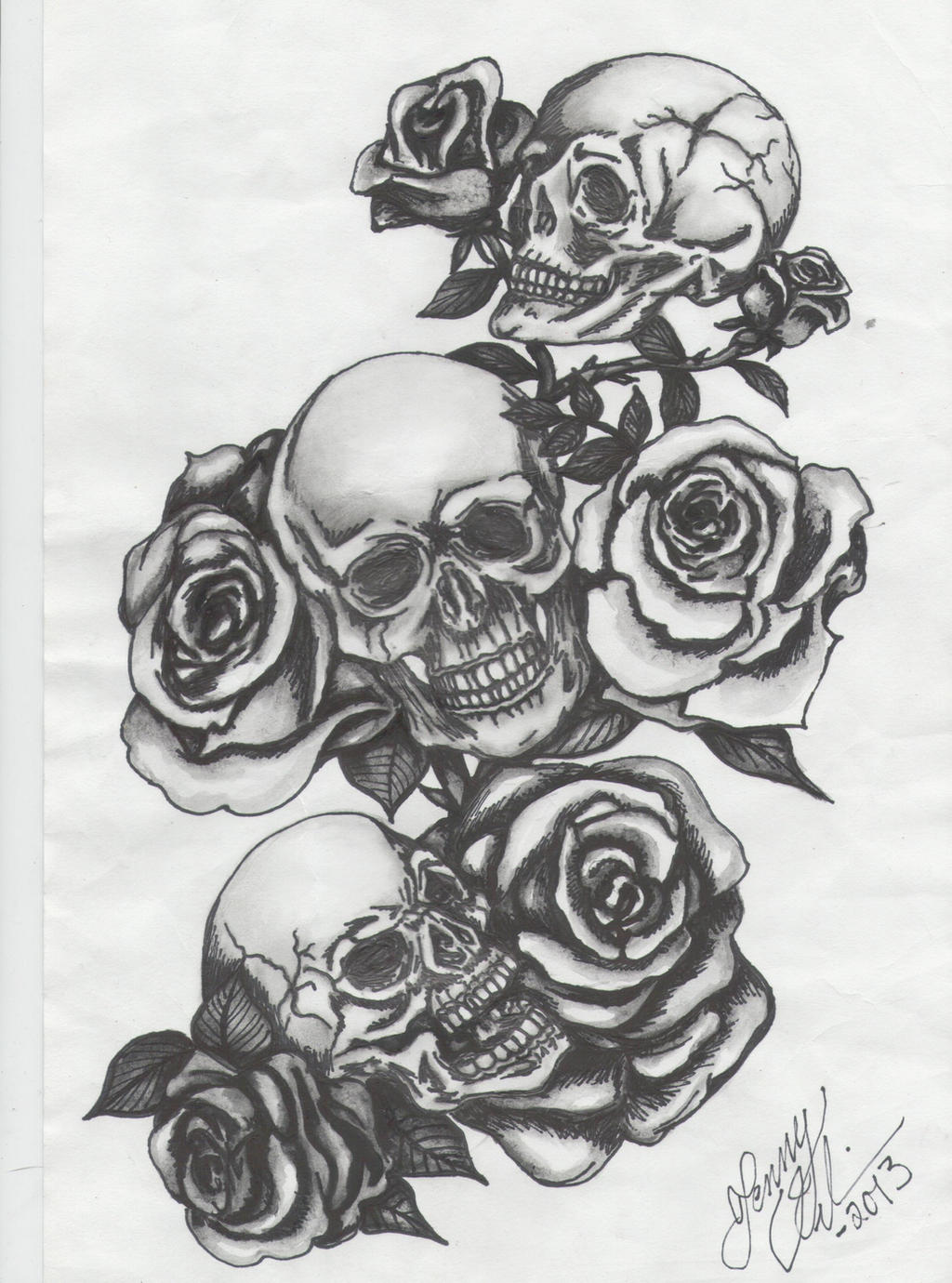 Three skulls with roses by jenny blue on deviantart for 3 roses tattoo