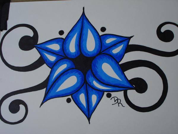 Blue Tribal Flower By Lady dark art On DeviantArt