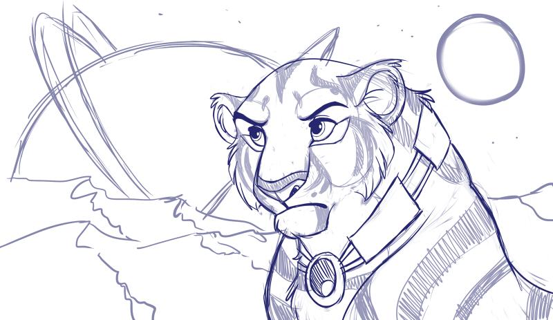 Tigress in Space WIP by kohu-scribbles
