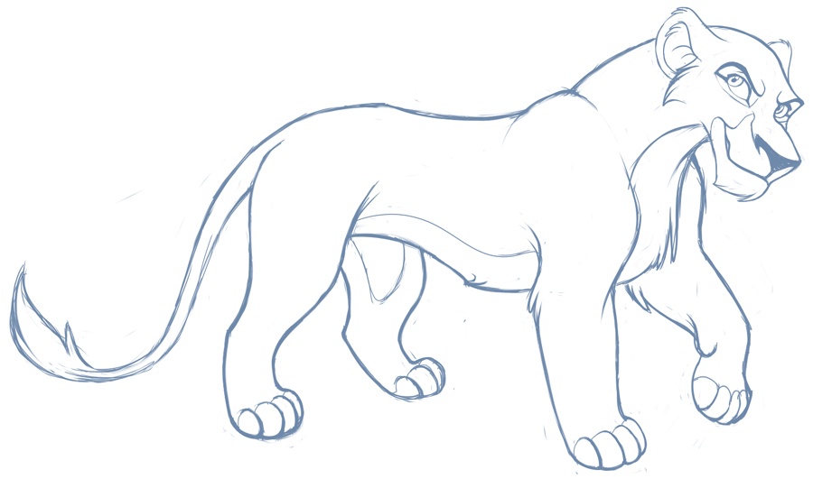 Female Lioness Sketch by kohu-scribbles