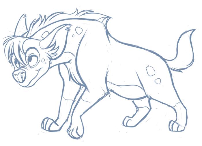 Female Hyena Sketch by kohu-scribbles