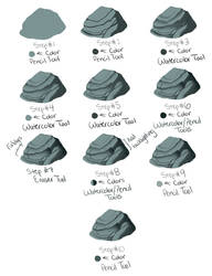 Quick scribbly rock tutorial for SAI