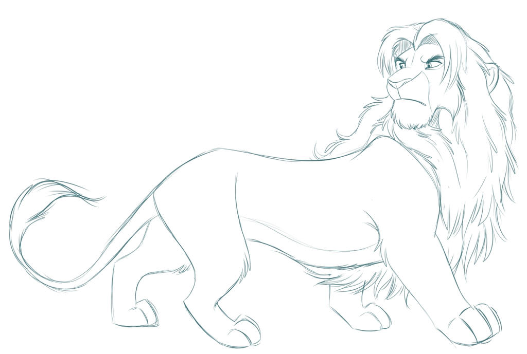 DC lion - Commission WIP by kohu-scribbles