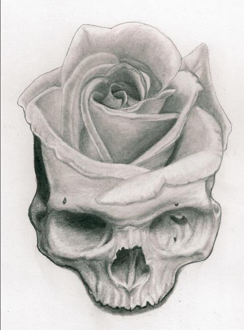 Skull And Flower by misseymarine on DeviantArt