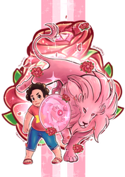 Steven and lion by Neoro-Chan