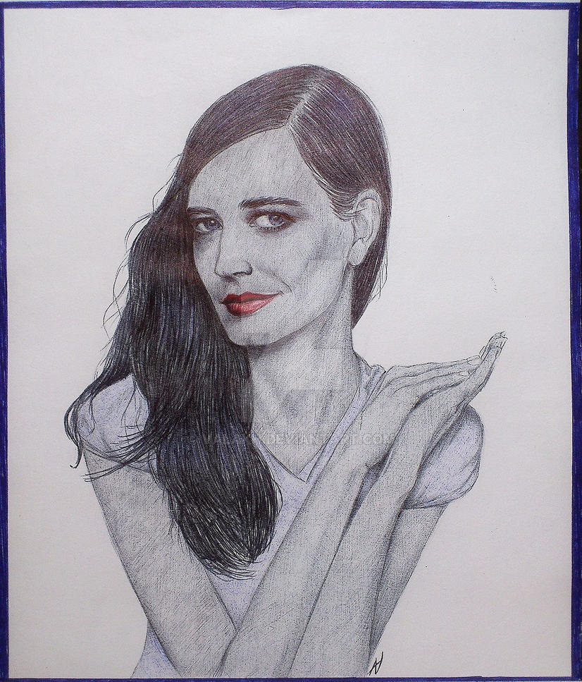 Eva Green. Ballpoint pen. by valakh