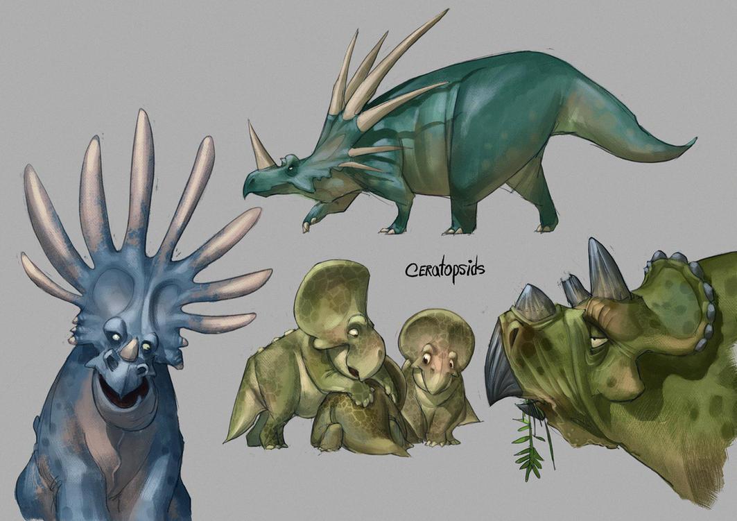 Ceratopsids by CHERDAK