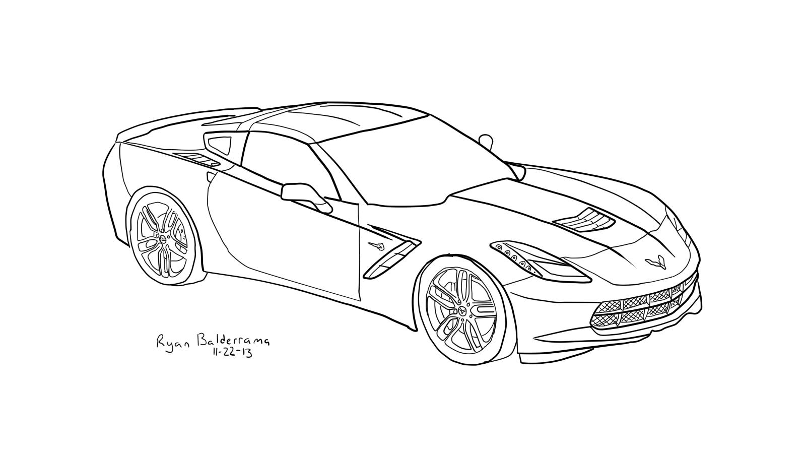 New Corvette Coloring Pages 2015