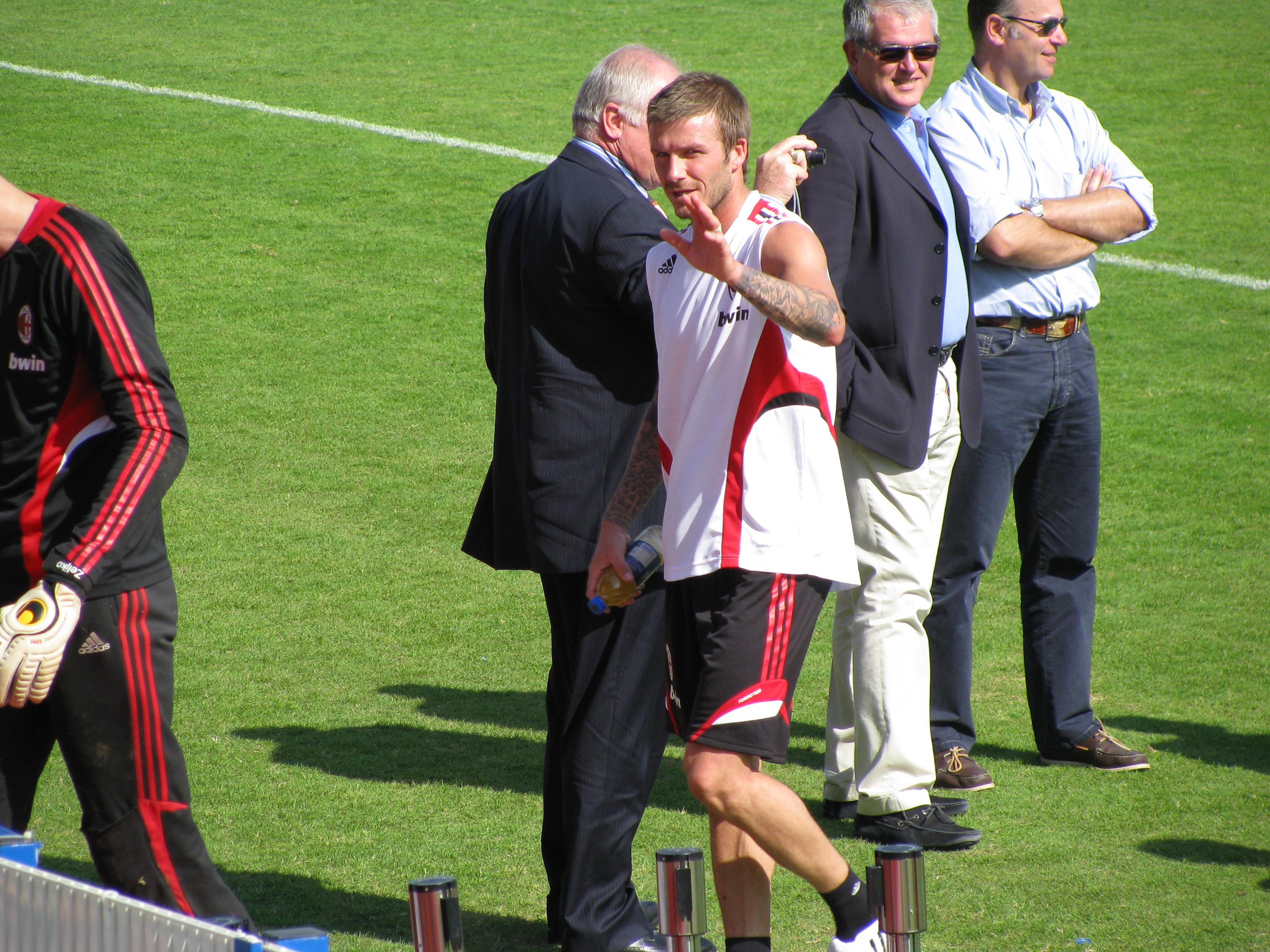 David Beckham waving