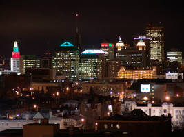 Downtown Buffalo at night by Actnup
