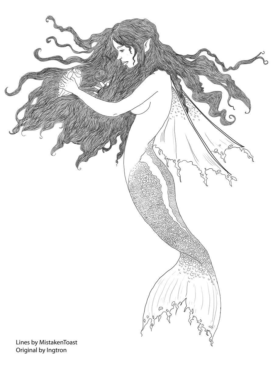 Line Art Mermaid : Ingtron s mermaid line art by mistakentoast on deviantart
